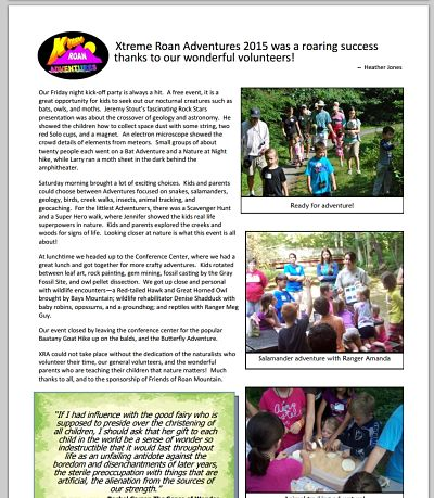 Friends of Roan Mountain Newsletter