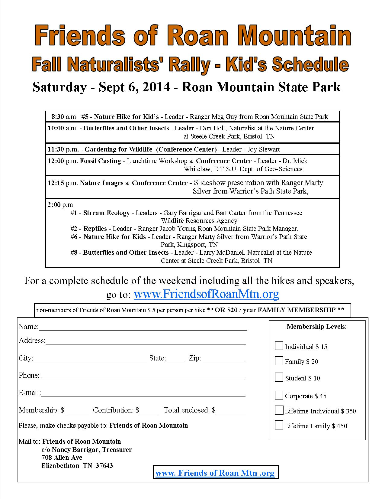 kids version of the Fall Naturalists Schedule