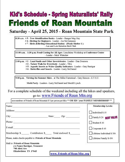 Friends of Roan Mountain Spring Naturalists Rally - 25 April -2015 - Kid's Schedule